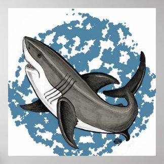 Gran tiburón blanco de salto póster