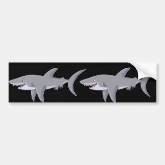 Gran tiburón blanco del dibujo animado pegatina de parachoque