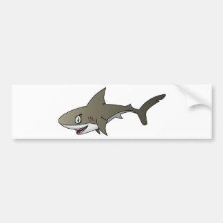 Gran tiburón blanco del dibujo animado etiqueta de parachoque