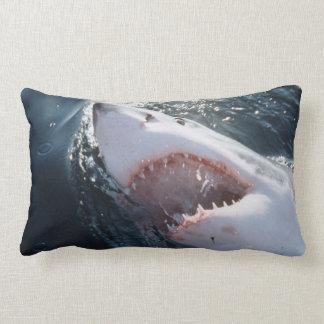 Gran tiburón blanco en el mar cojín