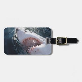 Gran tiburón blanco en el mar etiquetas bolsa