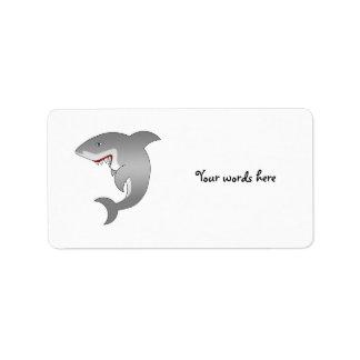 Gran tiburón blanco etiqueta de dirección