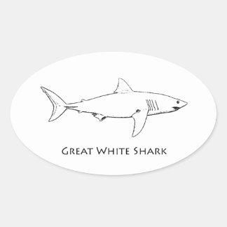 Gran tiburón blanco (línea arte) pegatina ovalada