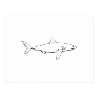 Gran tiburón blanco (línea arte) tarjeta postal