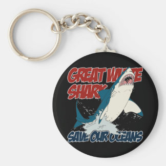 Gran tiburón blanco llaveros