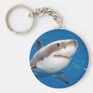 Gran tiburón blanco llavero redondo tipo pin