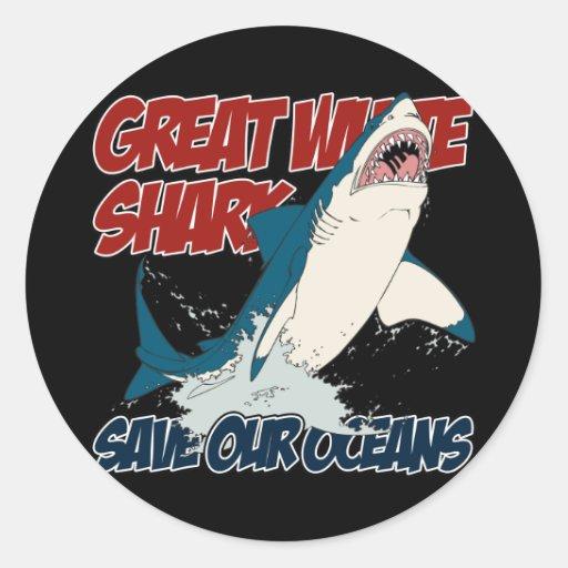 Gran tiburón blanco pegatina redonda