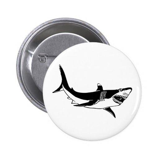 Gran tiburón blanco pin redondo 5 cm