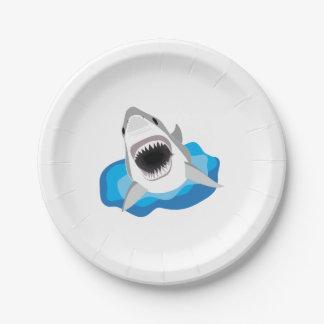 Gran tiburón blanco platos de papel