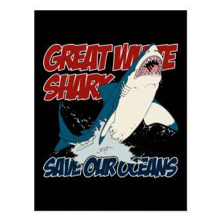 Gran tiburón blanco tarjetas postales