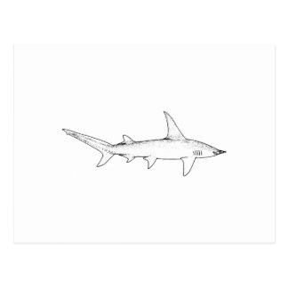 Gran tiburón de Hammerhead (línea arte) Postal