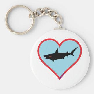 gran tiburón de hammerhead llavero redondo tipo pin
