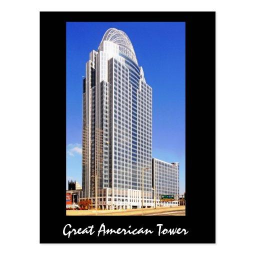 Gran torre americana en la ciudad de la reina tarjetas postales