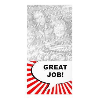 ¡gran trabajo! burbuja cómica tarjetas personales