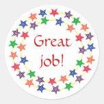 ¡Gran trabajo! , pegatinas, círculos de estrellas