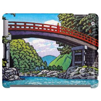Gran waterscape japonés fresco del río del puente