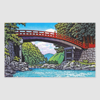 Gran waterscape japonés fresco del río del puente pegatina rectangular