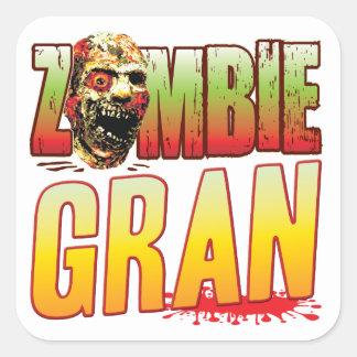 Gran Zombie Head Square Sticker