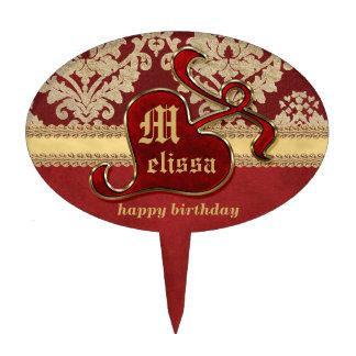 Granada antigua con monograma del rojo del oro del decoraciones de tartas
