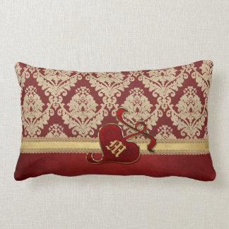 Granada antigua con monograma del rojo del oro del almohadas