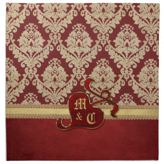Granada antigua con monograma del rojo del oro del servilleta imprimida