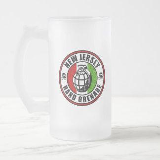 Granada de mano de New Jersey Jarra De Cerveza Esmerilada