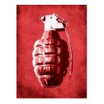 Granada de mano en rojo tarjetas postales