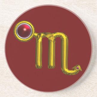 Granada del rojo del oro de la JOYA del CUMPLEAÑOS Posavasos Personalizados