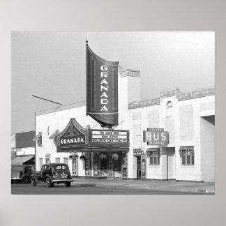 Granada Movie Theater, 1938. Vintage Photo Poster