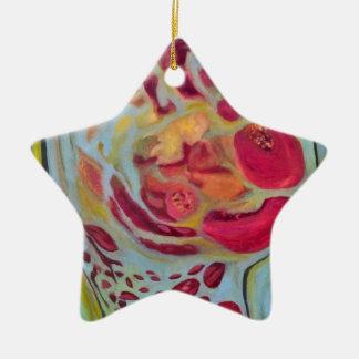 Granada velada adorno de cerámica en forma de estrella