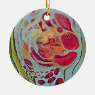 Granada velada adorno redondo de cerámica
