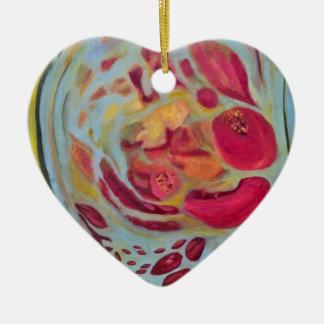 Granada velada adorno de cerámica en forma de corazón