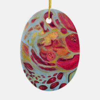 Granada velada adorno ovalado de cerámica