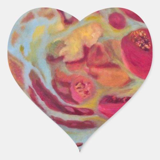 Granada velada pegatina en forma de corazón