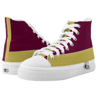 Granate y oro dos zapatillas de deporte del