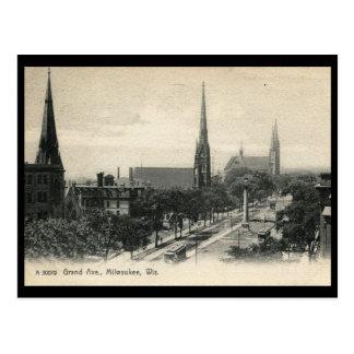 Grand Ave., Milwaukee, Wisconsin 1907 Vintage Postcard