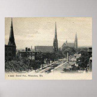 Grand Ave., Milwaukee, Wisconsin 1907 Vintage print