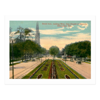 Grand Ave Milwaukee Wisconsin Vintage Post Card