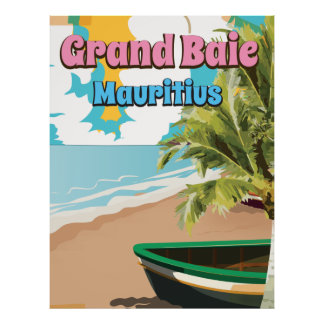Grand Baie Mauritius vintage travel poster. Poster