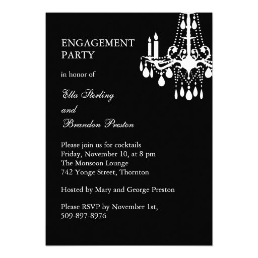 Grand Ballroom Engagement Party Invitation (black) Personalized Announcements