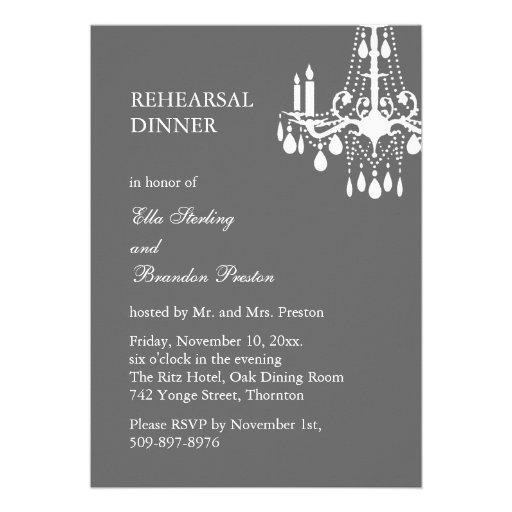 Grand Ballroom Rehearsal Dinner Invitation (gray)