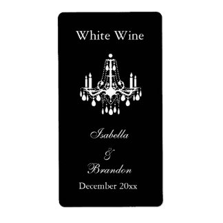 Grand Ballroom Wedding Wine Label (black) Custom Shipping Label