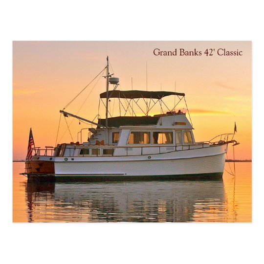 Grand Banks trawler at sunset, 42' Classic Postcard