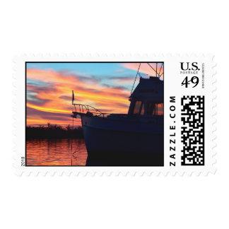 Grand Banks Trawler at Sunset Postage