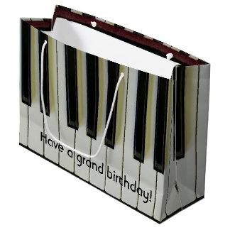 Grand Birthday Piano Keys Customizable Message Large Gift Bag