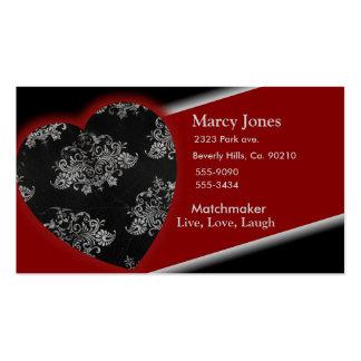 Grand Black Burgundy Heart Damask Set Business Card
