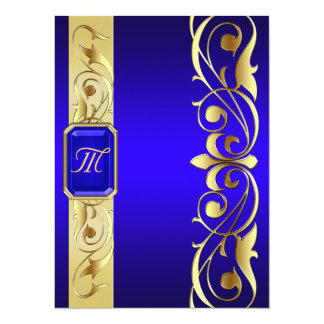 Grand Blue Jewel Gold And Blue Invitation