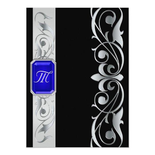 Grand Blue Jewel Silver And Black Invitation