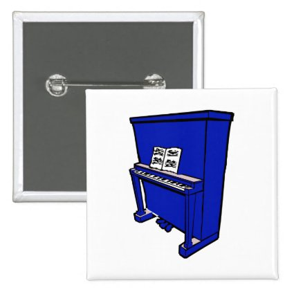 grand blue upright piano with music.png pinback button
