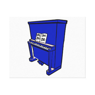 grand blue upright piano with music.png canvas print